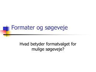 Formater og søgeveje