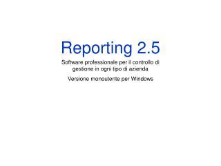 Reporting 2.5