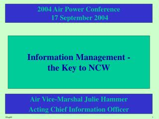 Information Management -  the Key to NCW