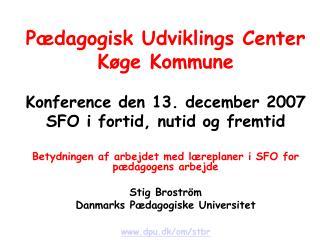 Pædagogisk Udviklings Center Køge Kommune Konference den 13. december 2007