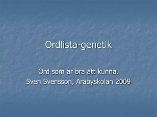 Ordlista-genetik