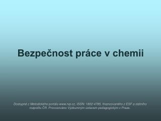 Bezpečnost práce v chemii