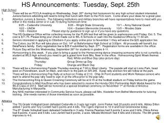 HS Announcements:  Tuesday, Sept. 25th