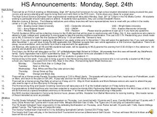 HS Announcements:  Monday, Sept. 24th
