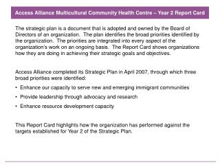 Access Alliance Multicultural Community Health Centre – Year 2 Report Card