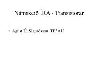 Námskeið ÍRA - Transistorar