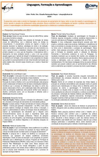 Líder: Profa. Dra. Claudia Raimundo Reyes - clreyes@ufscar.br  CECH