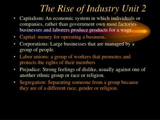 The Rise of Industry Unit 2