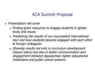 ACA Summit Proposal