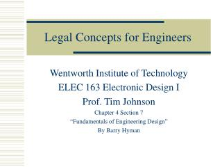 Legal Concepts for Engineers