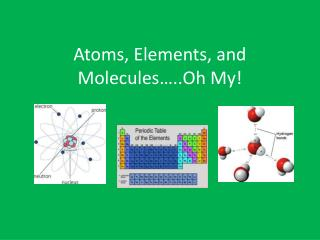 Atoms, Elements, and Molecules…..Oh My!