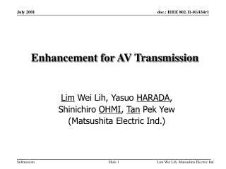 Enhancement for AV Transmission