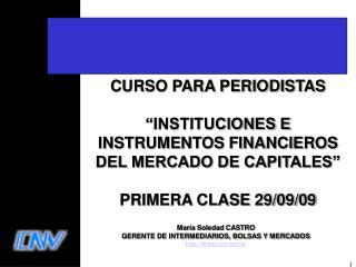 CURSO PARA PERIODISTAS     INSTITUCIONES E INSTRUMENTOS FINANCIEROS DEL MERCADO DE CAPITALES   PRIMERA CLASE 29