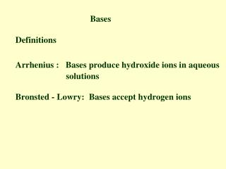 Bases       Definitions