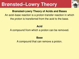 Brønsted–Lowry Theory