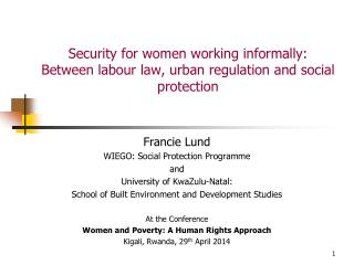 Security for women working informally: Between labour law, urban regulation and social protection