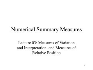 Numerical Summary Measures