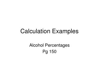 Calculation Examples