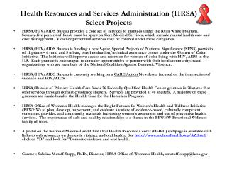 Health Resources and Services Administration (HRSA) Select Projects