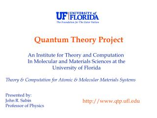 An Institute for Theory and Computation   In Molecular and Materials Sciences at the
