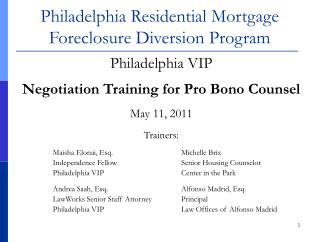 Philadelphia Residential Mortgage Foreclosure Diversion Program