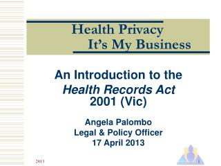 Health Privacy It's My Business