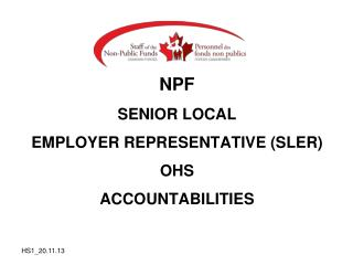 NPF SENIOR LOCAL EMPLOYER REPRESENTATIVE (SLER) OHS ACCOUNTABILITIES