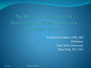 The Role and Importance of Institutional Review Boards in a University Setting