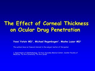 The Effect of Corneal Thickness on Ocular Drug Penetration