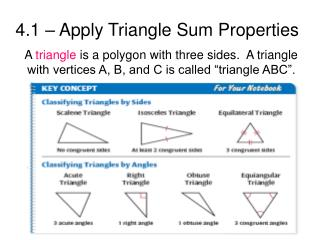 4.1 – Apply Triangle Sum Properties