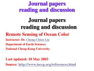 Journal papers  reading and discussion