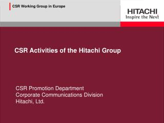 CSR Activities of the Hitachi Group
