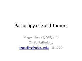 Pathology of Solid Tumors