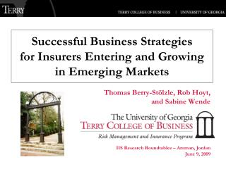 Successful Business Strategies for Insurers  Entering and Growing in Emerging Markets