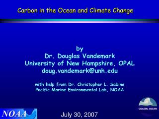 Carbon in the Ocean and Climate Change