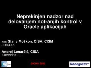 Neprekinjen nadzor nad delovanjem notranjih kontrol v Oracle aplikacijah