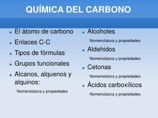 QU�MICA DEL CARBONO