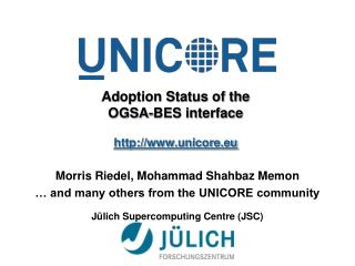 Adoption Status of the OGSA-BES interface unicore.eu