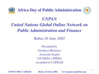 Africa Day of Public Administration UNPAN United Nations Global Online Network on
