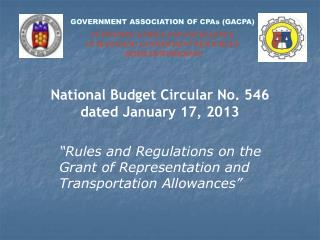 GOVERNMENT ASSOCIATION OF CPAs (GACPA) SUSTAINING ETHICS AND EXCELLENCE