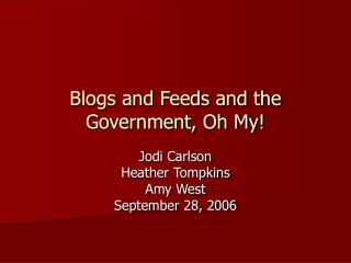 Blogs and Feeds and the Government, Oh My!