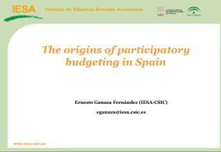 The origins of participatory budgeting in Spain