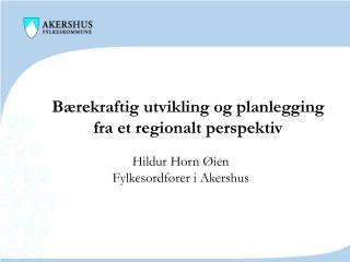 Bærekraftig utvikling og planlegging fra et regionalt perspektiv