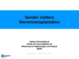 Gender matters Nierentransplantation