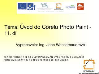 Téma:  Úvod do Corelu Photo Paint -11.díl