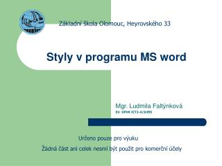 Styly v programu MS word