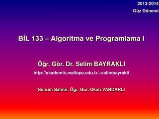 BİL 133 – Algoritma ve  Programlama I Öğr . Gör. Dr. Selim BAYRAKLI