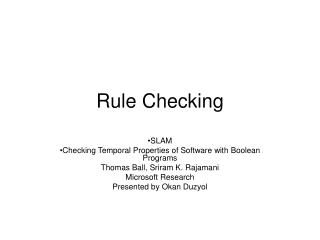 Rule Checking