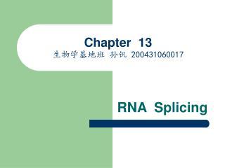 Chapter  13 生物学基地班 孙钒  200431060017