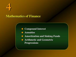 Compound Interest Annuities Amortization and Sinking Funds Arithmetic and Geometric Progressions